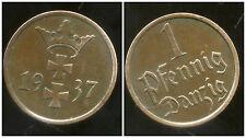 POLOGNE  ( gdansk )  1 pfennig  1937