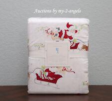 Pottery Barn Kids Christmas SANTA'S SLEIGH Reindeer Flannel F/Q Full/Queen Duvet