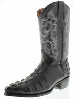 Men's New Leather Crocodile Tail Design Rodeo Western Cowboy Boots J Toe Black