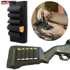 Tactical 5 Round Shotgun Shell Holder Hunting Ammo Carrier Butt Stock Pouch BK