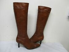 Mr Billy's Hand Made Shoes Brown Leather Zip Knee High Boots Womens Size 6.5