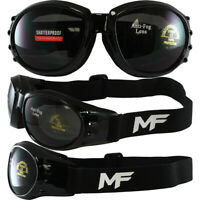Eliminator Padded Motorcycle Goggles Kit-3 Shatterproof Lens Smoked Clear Yellow
