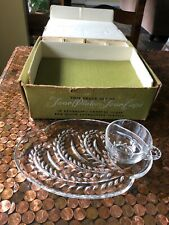 Vtg Federal Glass Homestead Hospitality Snack Set 4 plates 4 cups FLAWLESS