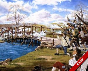 SHOT HEARD ROUND THE WORLD AMERICAN REVOLUTIONARY WAR PAINTING ART CANVAS PRINT