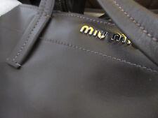 MIU MIU  LEATHER TOTE  RR1934 DARK BROWN  VITELLO LEATHER PURSE BAG BY PRADA