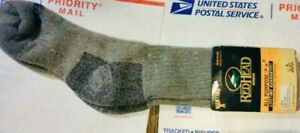 RED HEAD crew socks - size LG Gray - Made in USA - 1 pair - Tag still on