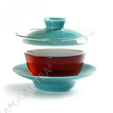 130ml Ciano Porcelana Vidro Transparente Resistente Ao Calor Kung Fu Gaiwan Pires Xícara De Chá