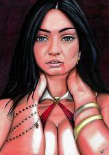 """Vampirella (09""""x12"""") original and unique 1/1 comic art by Joao Santos"""