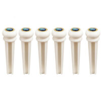 Acoustic Guitar Bone Bridge Pins with Abalone Dot Brass Circle Skirt Set of 6