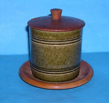 Swedish Art Pottery Attractive Ceramic Preserve Pot With Wooden Top & Drip Tray.