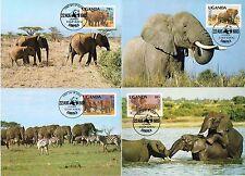 4 TARJETAS MAXIMAS WWF MAXICARD MAXIMUM COMPLETA FAUNA UGANDA ELEFANTES ELEPHANT