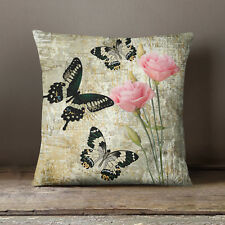 S4Sassy Square Rustic Green Cushion Cover Butterfly Printed Decorative Pillow
