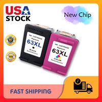 2 Pack Black Color Ink Cartridges for HP 63XL Deskjet 1110 1112 2130 3630 3632