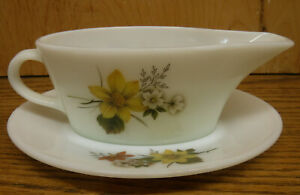"JAJ Pyrex Milk Glass ""Autumn Glory"" vintage Gravy Boat Dish & Plate England made"