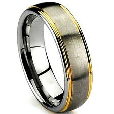 TITANIUM Satin Polished Plain RING BAND with Gold Plated Grooves, size 10