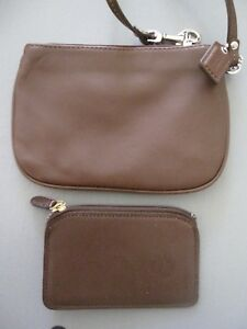 Coach Brown Leather Wristlet Cardholder Zip Case Two pieces Both NEW REDUCED!