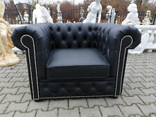 Chesterfield Fernseh Couch Lounge Club 100% Vollleder Sessel Polster 1 Sitzer