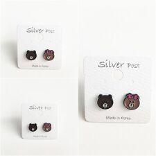 LINE FRIENDS Brown Choco Cute Bear Earrings Naver Character Made In Korea
