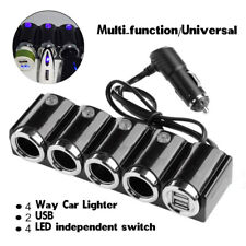 12V/ 24V Cigarette 4 way Car Socket Lighter Splitter 2 USB Power charger adapter