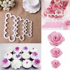 3D Rose Petal Flower Cake Cutter Fondant Icing Tool Decorating Mould Sugarcraft3