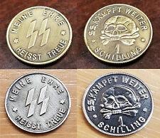 x 2 WW2 WWII German Elite coins SS Kampft Weiter 1 Schilling Kantine bar money