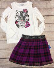 Jessica Simpson 2 Piece Outfit Cold Shoulder Tiger Shirt Plaid Skirt 14/16