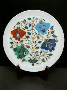 10 Inches Marble Decorative Plate with Floral Pattern Collectible plate for Home