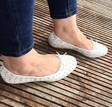 Zara Ecru Studded Soft Ballerina Flat Shoes Pumps Size 39 UK 6 BNWT