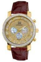Joshua & Sons JS-28-03 Diamond Chronograph GMT Brown Leather Strap Mens Watch