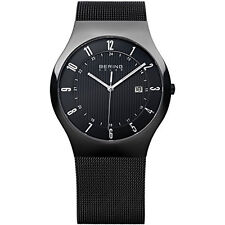 Bering Mens 14640-222 Solar Black Dial Stainless Steel Mesh Band Black SS Watch