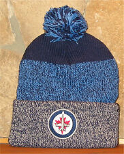 NHL HOCKEY WINNIPEG JETS Cuff STATIC KNIT Winter Hat Cuffed Toque POM '47 Navy