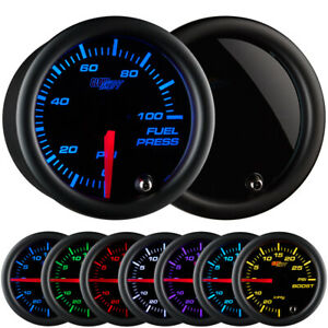 52mm GlowShift Smoked 0-100 PSI Fuel Pressure Gauge w 7 LED Colors Illumination