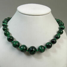 VINTAGE MALACHITE & GLASS BEAD 20 1/2 INCH NECKLACE 1970's - 86 GRAMS