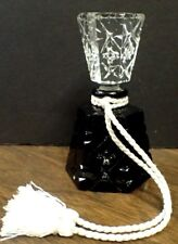 Antique Perfume Bottle Hand Carved Black Onyx Lead Crystal Stopper