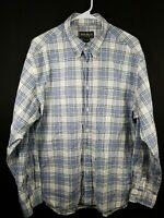 Eddie Bauer Mens Blue And White Plaid Button Front Long Sleeve Shirt Size Large