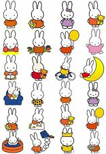 24 Mixed Miffy Large Sticky White Paper Stickers Labels New