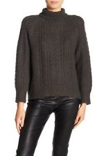 NWT $495 VINCE Womens Size M Cable Knit Wool Blend Turtleneck Sweater Graphite