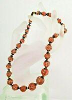 "Vintage Glass Lamp work- Orange and Copper Flecks- Bead Necklace- 16"" Choker"