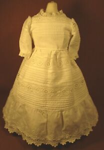 "Vintage Doll Dress for 17""-18"" Bisque Doll - White Cotton w/Eyelet Lace & Tucks"