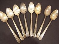 Oneida Milady set of 8 teaspoons Community Silverplate Flatware 1940s oval small