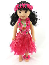 """Hot Pink Hawaiian Luau Outfit Fits Wellie Wishers 14.5"""" American Girl Clothes"""