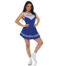 Blue Cheerleader Adult Women's Costume Top & Skirt School Spirit Cheer SM-XL