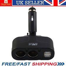 2 Way USB Port Car Cigarette Lighter Dual Socket Splitter Fast Vehicle Charger