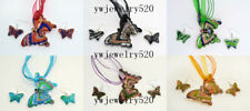 pendant Silver P necklaces earring wholesale Lots 6set Butterfly Murano glass