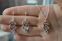 *** ladies stylish 925 sterling silver crystal heart pendant  and earring set***