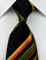 AS0028 Black Green Stripe Classic Elegant Woven 100%Silk Necktie Man's Tie