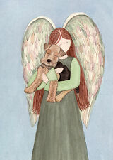 Airedale Terrier cradled by angel / Lynch signed folk art print