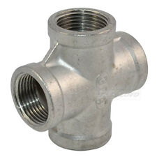 """1/2"""" Thread 4 Way Female Cross Coupling Connector SS 304 Pipe Fitting BSP"""