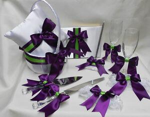 White Eggplant Green Flower Girl Basket Ring Pillow Guest Book Pen Cake Server