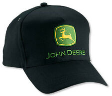 NEW John Deere Black Twill Tall Front JD Cap Hat LP14415